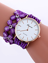 cheap -Women's Bracelet Watch Quartz Ladies Rhinestone Analog White Black Purple / Quilted PU Leather / One Year / One Year / Jinli 377