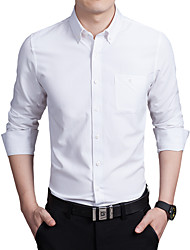cheap -Men's Plus Size Solid Colored Slim Shirt Business Daily Work Wine / White / Black / Navy Blue / Pink / Gray / Light Blue / Fall / Long Sleeve