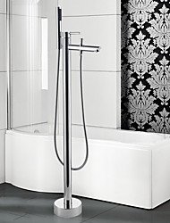 cheap -Contemporary Art Deco/Retro Modern Tub And Shower Pullout Spray Widespread Floor Standing Ceramic Valve Single Handle One Hole Chrome,