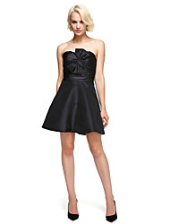 cheap -A-Line / Fit & Flare Sweetheart Neckline Short / Mini Taffeta Little Black Dress / Cute Cocktail Party / Homecoming / Holiday Dress with Bow(s) 2020