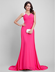 cheap -A-Line Beautiful Back Formal Evening Dress Sweetheart Neckline Sleeveless Floor Length Chiffon with Embroidery 2021
