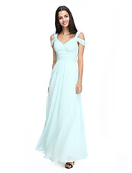 cheap -A-Line Straps Ankle Length Chiffon Bridesmaid Dress with Criss Cross / Ruched