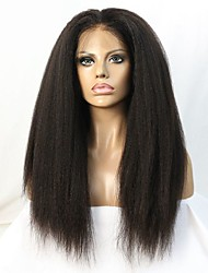 cheap -Human Hair Glueless Lace Front Lace Front Wig style Brazilian Hair Straight kinky Straight Wig 130% 150% Density 10-22 inch with Baby Hair Natural Hairline African American Wig 100% Hand Tied Women's