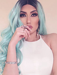cheap -Synthetic Lace Front Wig Body Wave Body Wave Lace Front Wig Long Blue Synthetic Hair Women's Ombre Hair Dark Roots Middle Part Blue