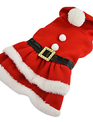 cheap -Dog Costume Dress Winter Dog Clothes Red Costume Cotton Solid Colored Cosplay Christmas XS S M L XL