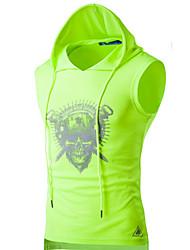 cheap -Men's Graphic Skull Print T-shirt Active Daily Sports Hooded White / Black / Green / Light gray / Summer / Sleeveless
