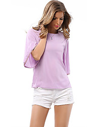 cheap -Women's Daily Blouse - Solid Colored Purple / Spring / Fall