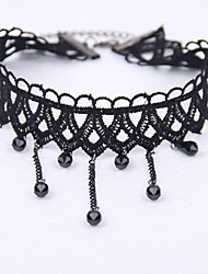 cheap -Women's Choker Necklace Tassel Crossover Beads Drop Ladies Personalized Tassel Vintage Lace Alloy Black Necklace Jewelry For Wedding Party Daily Casual Sports Cosplay Costumes