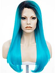 abordables -Perruque Lace Front Synthétique Droit Droite Lace Frontale Perruque Bleu Cheveux Synthétiques Femme Racines foncées Ligne de Cheveux Naturelle Bleu