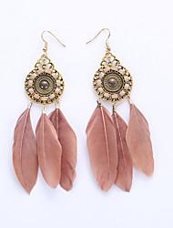 cheap -Women's Drop Earrings Hoop Earrings Earrings Feather Ladies European Fashion Native American Feather Earrings Jewelry Red / Rainbow / Khaki For Wedding Party Daily