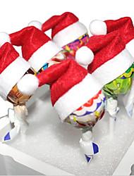Недорогие -10pcs комплект Рождество конфеты шляпы мини Санта-Клаус шляпы партия украшения леденец рождественские декорации