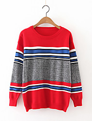 cheap -Women's Going out Vintage Long Pullover,Patchwork Round Neck Long Sleeve Cashmere Polyester Fall Medium Micro-elastic