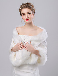 cheap -Faux Fur Imitation Cashmere Wedding Party Evening Women's Wrap With Pattern Shawls