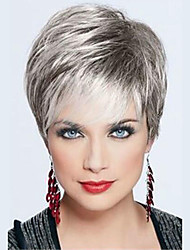 cheap -Human Hair Wig Short Straight Pixie Cut Short Hairstyles 2019 Straight Short Silver Black Blonde Dark Roots Side Part With Bangs Women's Grey Medium Auburn / Bleach Blonde Beige Blonde / Bleached