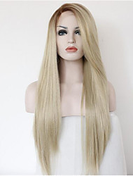 cheap -long natural straight ombre black root to blonde lace front wig synthetic hair wigs for women half hand tied
