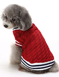 cheap -Cat Dog Sweater Christmas Winter Dog Clothes Red Blue Costume Cotton Color Block Casual / Daily Keep Warm XS S M L XL XXL