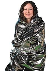 cheap -Emergency Blanket Waterproof Windproof Emergency Survival Steel Stainless Hiking Silver
