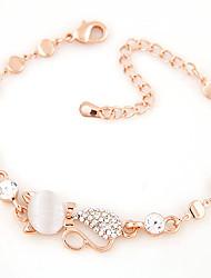 cheap -Women's Moonstone Chain Bracelet Cat Animal Dainty Ladies Personalized Fashion Cute Rhinestone Bracelet Jewelry Gold For Party Daily Casual / Imitation Diamond