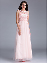 cheap -A-Line Floral Lace Up See Through Formal Evening Dress Illusion Neck Sleeveless Floor Length Tulle with Beading Flower 2020