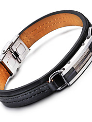 cheap -Men's Leather Bracelet Fashion Stainless Steel Bracelet Jewelry Black For Party Anniversary Birthday Congratulations Graduation Gift