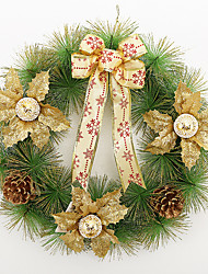 cheap -Christmas Wreath 3 Colors Pine Needles Christmas Decoration For Home Party Diameter 40cm Navidad New Year Supplies