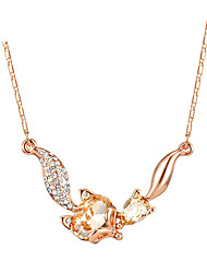 cheap -New Arrival 2016 Trendy Necklaces Opal Blue Crystal Jewelry Fox Necklace Pendant Vintage Long Necklace For Women Gift