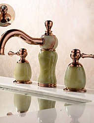 cheap -Contemporary Antique Modern Widespread Widespread Ceramic Valve Two Handles Three Holes Rose Gold, Bathroom Sink Faucet