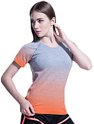 cheap -Women's Crew Neck Running Shirt Stripes Spandex Zumba Fitness Gym Workout Tee / T-shirt Top Short Sleeve Activewear Breathable Quick Dry Smooth Comfortable High Elasticity