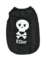 cheap -Cat Dog Shirt / T-Shirt Dog Clothes Black Costume Cotton Skull Casual / Daily Halloween XS S M L