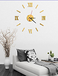 cheap -Modern Contemporary Plastic & Metal Round Indoor AA Batteries Powered Decoration Wall Clock Analog No