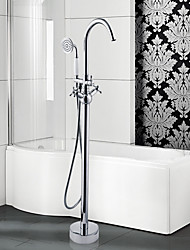 cheap -Contemporary Art Deco/Retro Modern Tub And Shower Pullout Spray Widespread Floor Standing Ceramic Valve Two Handles One Hole Chrome,