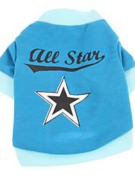 cheap -Cat Dog Shirt / T-Shirt Dog Clothes Blue Costume Cotton Stars Casual / Daily XS S M L