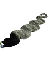 cheap -Tape In Human Hair Extensions Body Wave Human Hair Brazilian Hair Ombre Black / Grey