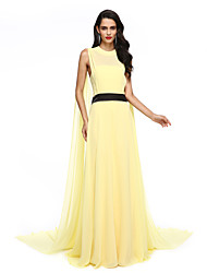 cheap -A-Line Celebrity Style Formal Evening Dress Illusion Neck Sleeveless Watteau Train Chiffon with Sash / Ribbon 2020