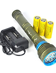 cheap -LED Flashlights / Torch Handheld Flashlights / Torch Waterproof 10000 lm LED XM-L2 U2 Emitters 1 Mode Waterproof Super Light Camping / Hiking / Caving Diving / Boating Hunting