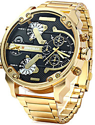 cheap -Men's Sport Watch Military Watch Wrist Watch Quartz Stainless Steel Black / Brown / Gold Calendar / date / day Dual Time Zones Cool Analog Luxury Vintage Casual Fashion - Brown black / gold White