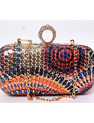 cheap -Women's Beading / Sequin Plastic / Satin Evening Bag Floral Print Golden / Fuchsia / Blue