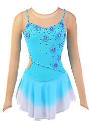 cheap -Figure Skating Dress Women's Girls' Ice Skating Dress Flower Halo Dyeing Spandex Mesh High Elasticity Training Competition Skating Wear Breathable Handmade Novelty Fashion Dumb Light Ice Skating