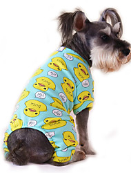 cheap -Cat Dog Jumpsuit Pajamas Winter Dog Clothes Blue-Yellow White Yellow Costume Cotton Cartoon Casual / Daily XS S M L XL