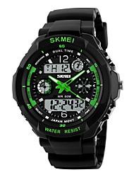 cheap -SKMEI Men's Sport Watch Military Watch Wrist Watch Quartz Water Resistant / Waterproof Analog - Digital Light Yellow Black / Red Black / White / Two Years / Rubber / Alarm / Calendar / date / day