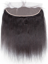 cheap -4x13 Closure Straight / Yaki Free Part / Middle Part / 3 Part Swiss Lace Human Hair