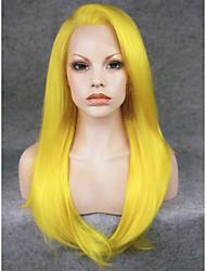 abordables -Perruque Synthétique Droit Droite Lace Frontale Perruque Blond Jaune Cheveux Synthétiques Femme Blond