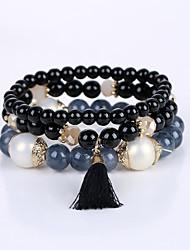 cheap -Men's Women's Bead Bracelet Bracelet Beaded Layered Multi Layer Acrylic Bracelet Jewelry Black / Red / Blue For Wedding Congratulations Graduation Business Gift Casual