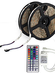 cheap -LED Strip Light (2*5M)10M/32.8ft 3528 RGB 600leds 8mm Strips Lighting Flexible Color Changing with 44 Key IR Remote Ideal for Home Kitchen Christmas TV Back Lights DC 12V