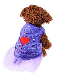 cheap -Cat Dog Shirt / T-Shirt Dress Dog Clothes Black Purple Pink Costume Cotton Heart Fashion XS S M L