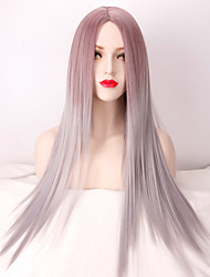 cheap -fashion highlight two tone natural grey ombre heat resistant synthetic wigs for women shades of long straight hair wig