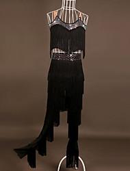 cheap -Latin Dance Outfits Performance Spandex Tassel / Crystals / Rhinestones Sleeveless High Top / Pants