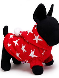 cheap -Cat Dog Sweater Hoodie Winter Dog Clothes Red Blue Costume Polar Fleece Stars Keep Warm Christmas XXS XS S M L