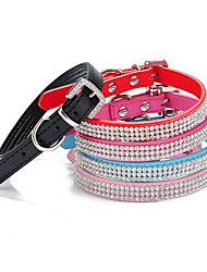 cheap -Cat Dog Collar Adjustable / Retractable Rhinestone Solid Colored PU Leather Red Blue Pink