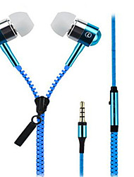 cheap -Zipper In Ear Wired Headphones Dynamic Aluminum Alloy Mobile Phone Earphone with Microphone Headset
